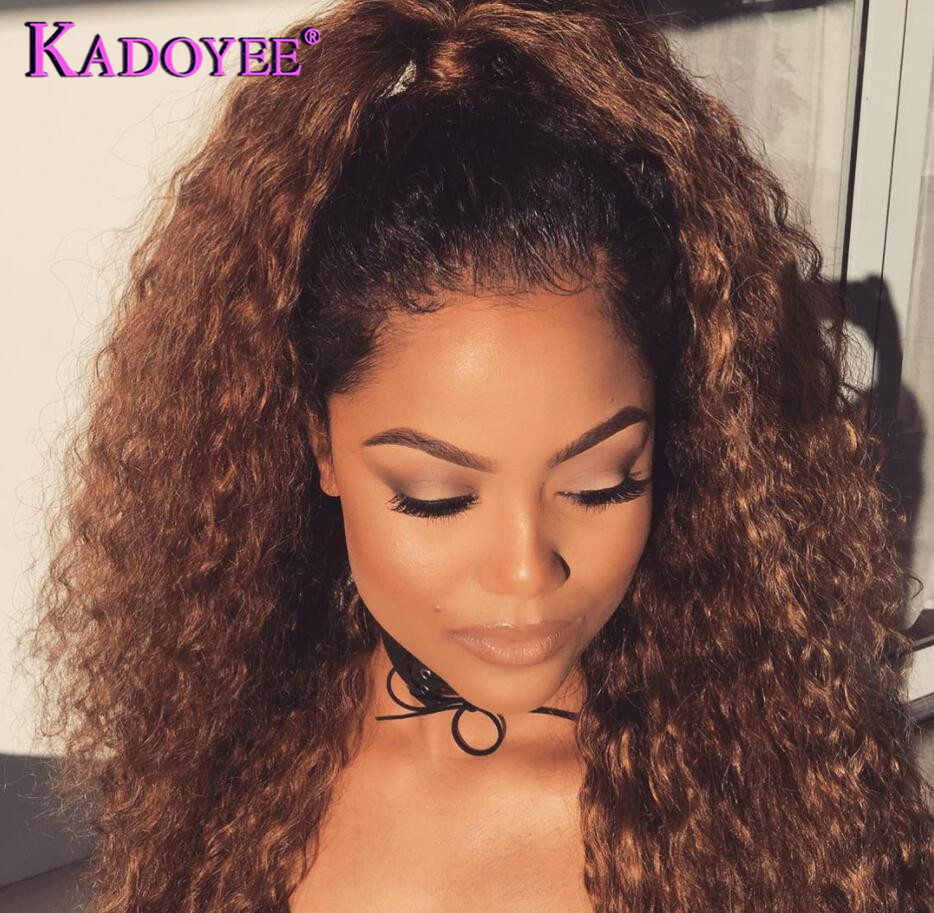 Brazilian Curly Lace Front Human Hair Wigs Ombre Curly Frontal Lace Wig Pre Plucked Bleached Knots
