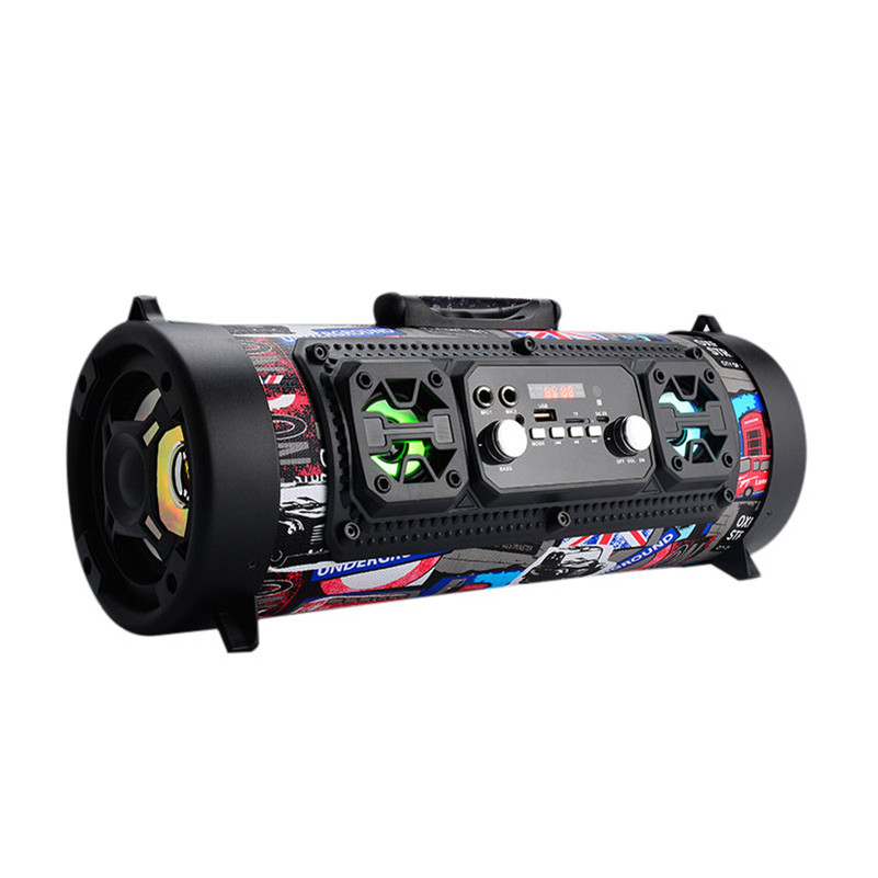 CH-M18 subwoofer 15W Big Power Wireless Bluetooth Speaker Portable Cool Graffiti Hip hop Style Adjustable Bass Outdoor Music Pla hot felyby portable bluetooth speaker outdoor usb wireless mp3 speaker powered audio music speakers shockproof subwoofer