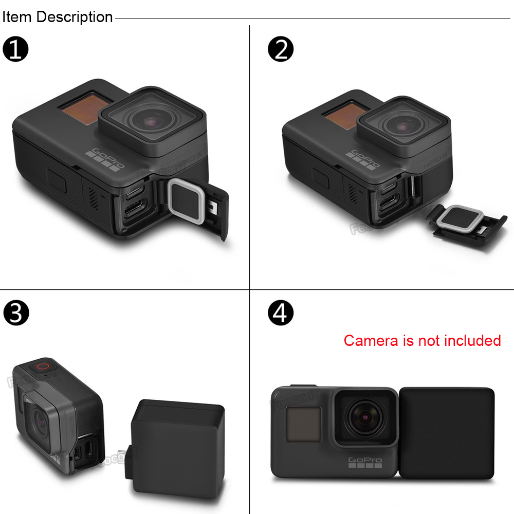 Image 3 - FeoconT Extended Battery For GoPro 5 Go Pro 6 Waterproof Protective Case Diving Housing Shell with Side Power Bank-in Sports Camcorder Cases from Consumer Electronics