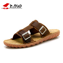 Z.SUO 100% Full Grain Leather Upper Cow Muscle Outsole Men's Flip Flops Metal Buckle Decorated Fashion Casual Sandals ZS5018