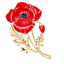 1 Pcs Enamel Red Poppy Bros Bunga Pin Fashion Perhiasan Bros Pernikahan Memorial(China)