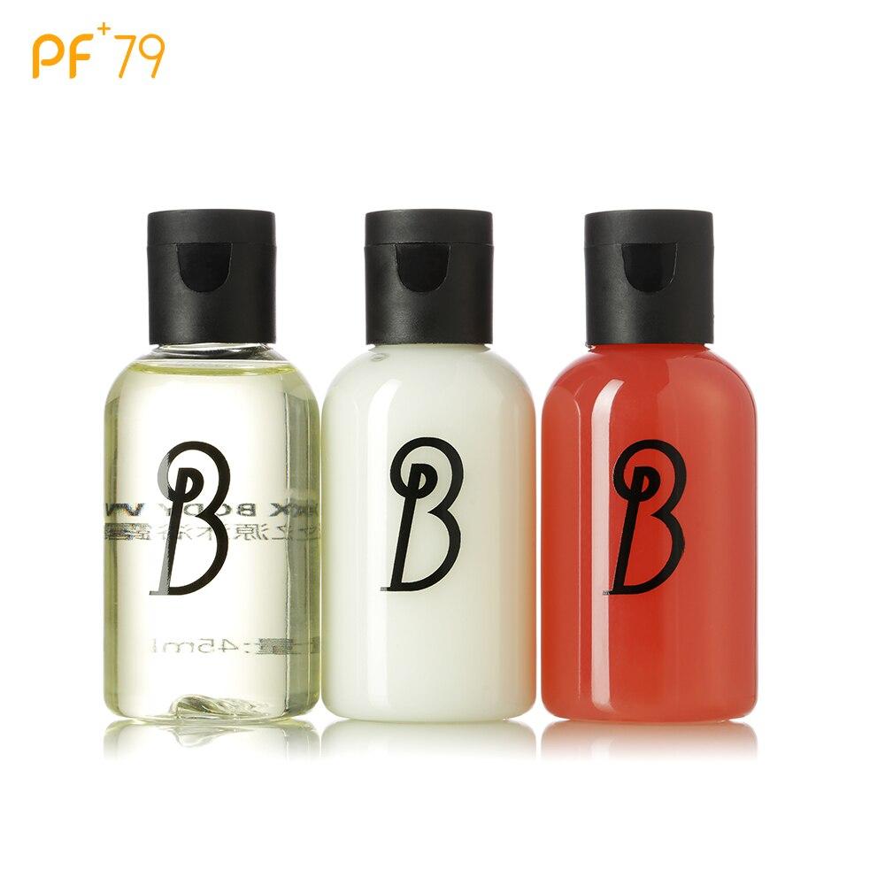 PF79 Body Lotion Travel Skin Care Set Shower Gels Shampoos Set 3*45ml Whitening Moisturizing Exfoliator Lotion for Body