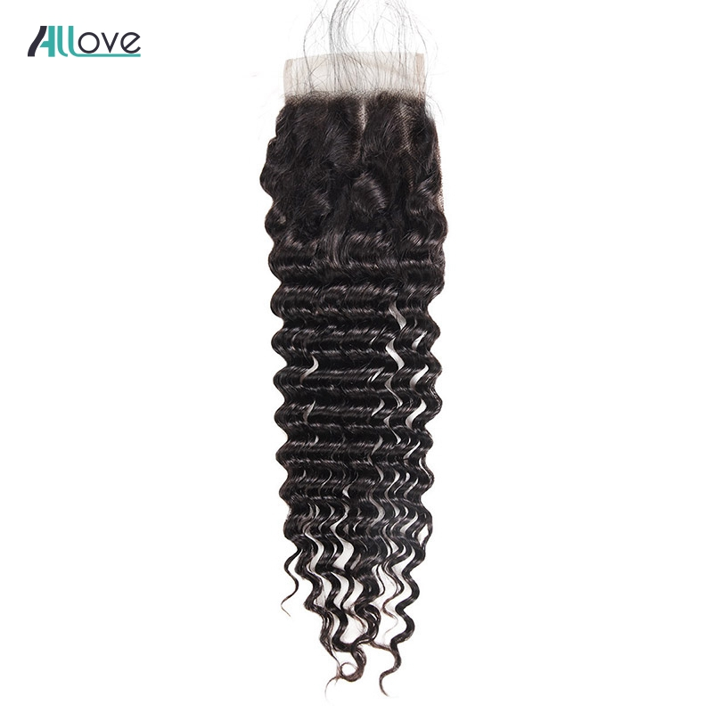 Allove Brazilian Deep Wave Lace Closure 4*4 Three Way Part Lace Closure Non Remy Human Hair Closure 8 20 Inch Free Shipping