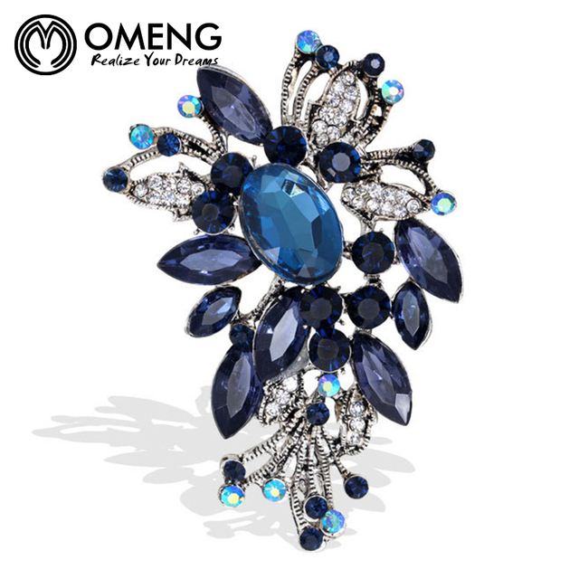 OMENG  High-end Vintage Brooch Corsage Collar Pin Accessories Rhinestone Brooch For Women OXZ034