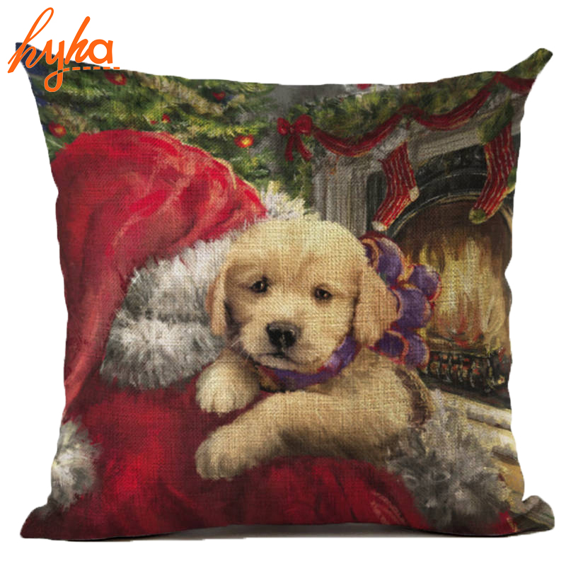Dog Christmas Cushion Christmas Decorative Pillows Cotton Linen Pug French Bulldog Christmas Tree Santa Claus Throw Pillow