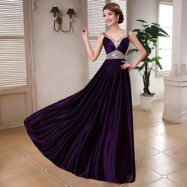 LC441M Elegant women Purple Evening Dress Long gown 2016 New Arrival ...
