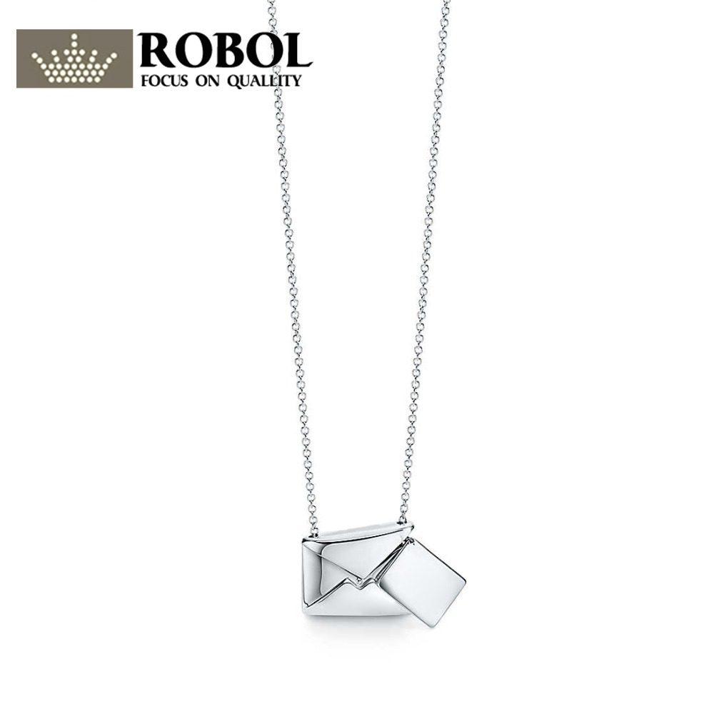 ROBOL Charm 925 Sterling Silver Simple Fashion Envelope Love Letter Pendant Necklace Women Jewelry Birthday Gift Original TIFFROBOL Charm 925 Sterling Silver Simple Fashion Envelope Love Letter Pendant Necklace Women Jewelry Birthday Gift Original TIFF