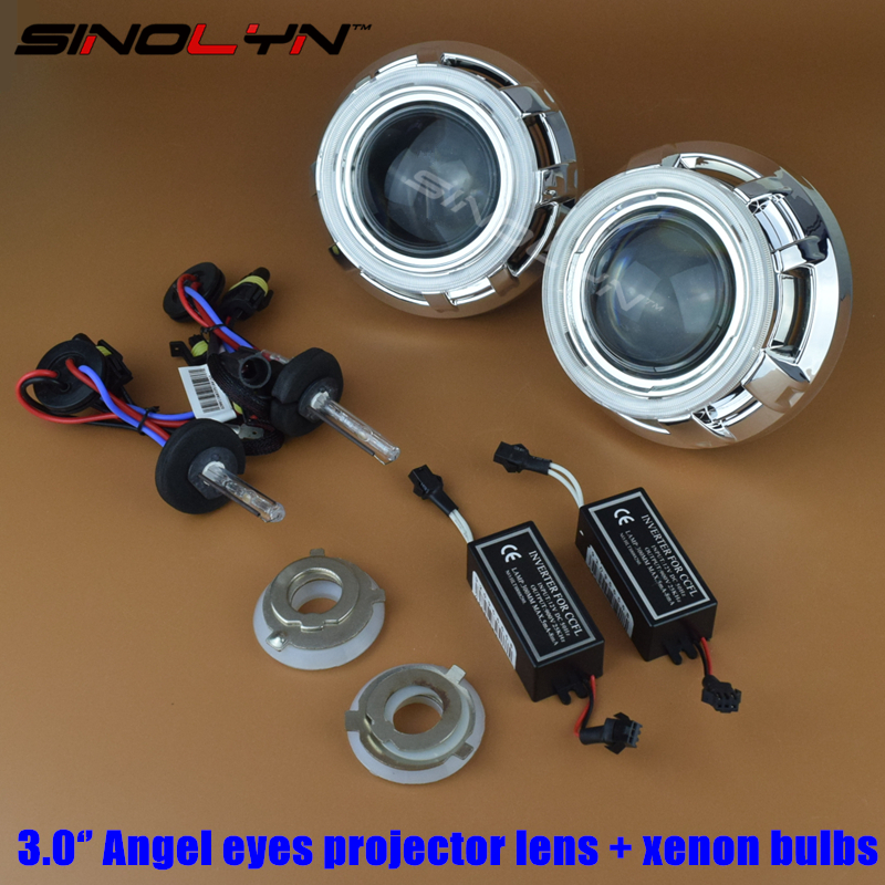 Automobiles 3.0 inch HID Angel Eyes Bi-xenon Projector Lens Headlamp Lenses H1 H4 H7 With Xenon Bulbs For Car Headlight Retrofit  car styling automobiles 3 0 metal bi xenon hid lens with led cob drl angel eyes for projector headlight h1 h4 h7