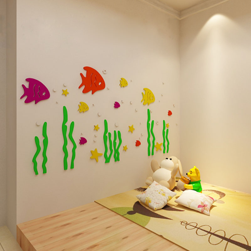 30 Cute Baby Nursery Room Decoration Design: Cute Cartoon Sea World Fish Design 3D Acrylic Wall