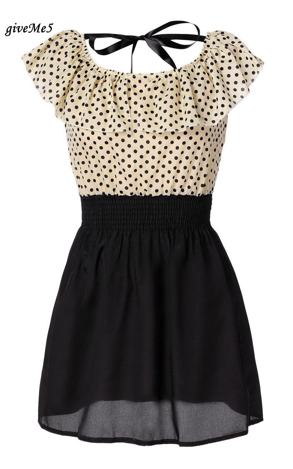 436c35dd28c3a 2013 Sıcak Satış Kore Yeni Moda Kadınlar Yaz Elbise Puantiyeler Kısa kollu  Şifon Elbise 38