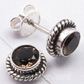 Silver Amazing SMOKY QUARTZ ANTIQUE STYLE Studs Earrings 0.8 CM NEW