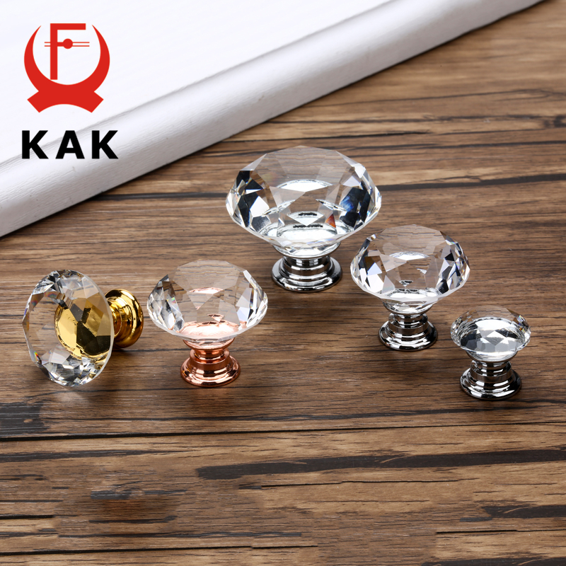 KAK 20-40mm Diamond Shape Design Crystal Glass Knobs Cupboard Drawer Pull Kitchen Cabinet Door Wardrobe Handles Hardware