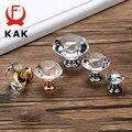 KAK 20-40mm diseño de forma de diamante cristal vidrio perillas tirador del cajón del armario cocina gabinete puerta tiradores de armario ferretería