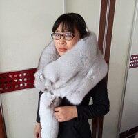 Whole fox bib leather men and women real fox fur scarf whole fox fur blue fox fur collar fur shawl winter