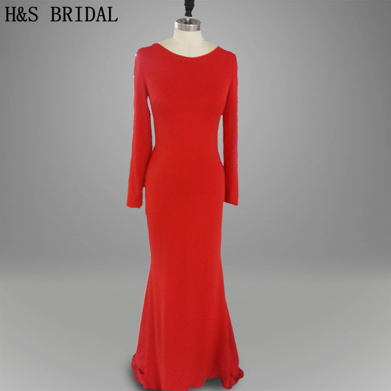 Real photo Formal Evening Gown Sleeves 2017 Elegant low back sexy red and white long sleeves prom dress backless evening dresses