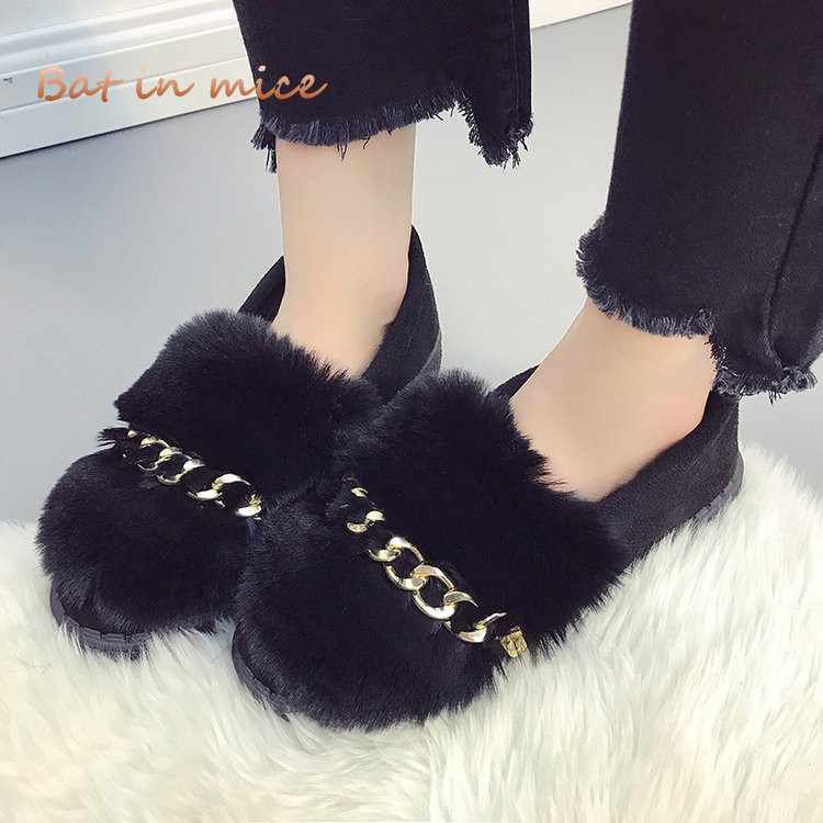 New women Comfort Flats Winter warm Rabbit fur snow boots shoes women casual Round Toe Slip-On Booties botas Mujer Zapatos W598 aphixta loafers women flats heel shoes warm fur winter round toe female ladies casual slip on zapatos de mujer shoes plus size