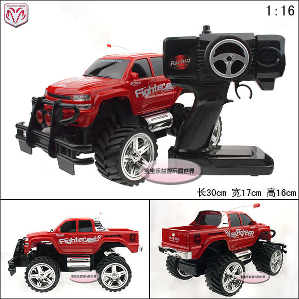 RC 1:16 Ultralarge BIGFOOT DODGE SUV rechargeable shock absorption remote control car models