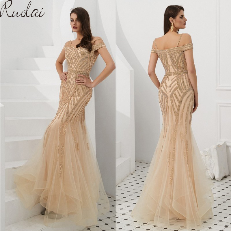 Luxury Evening Dresses Long 2019 Mermaid Gowns off shoulder For Women Dress vestidos de fiesta gown