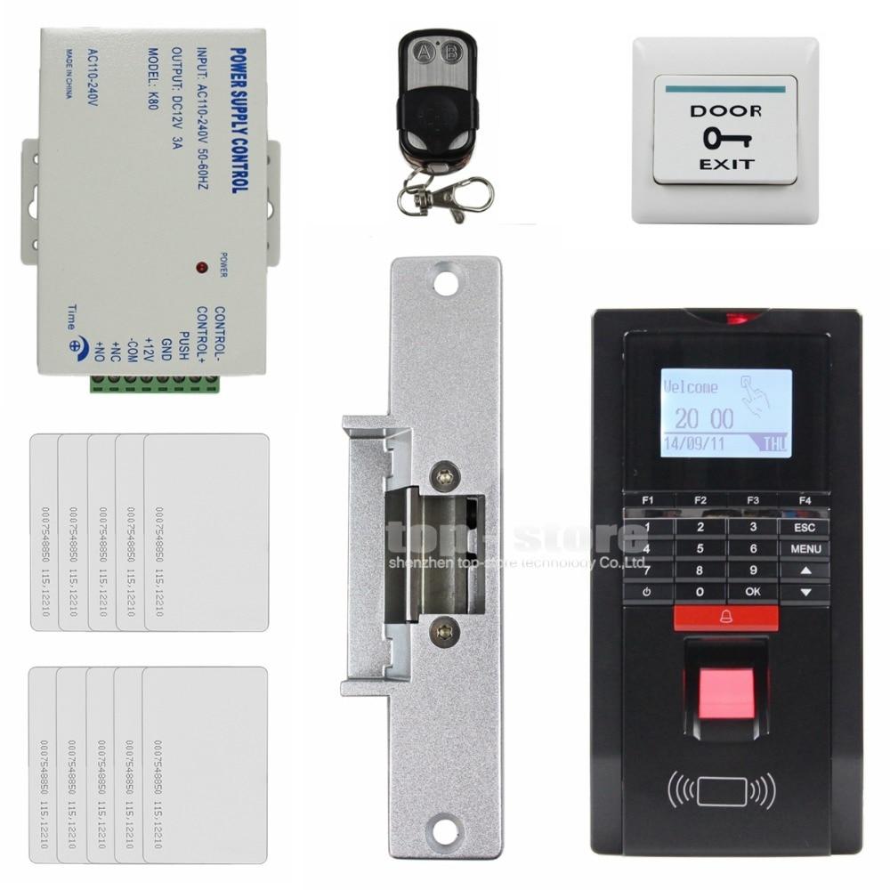 DIYSECUR LCD Fingerprint Id Card Reader Password Keypad Door Access Control System Kit + Strike Lock For Office / House