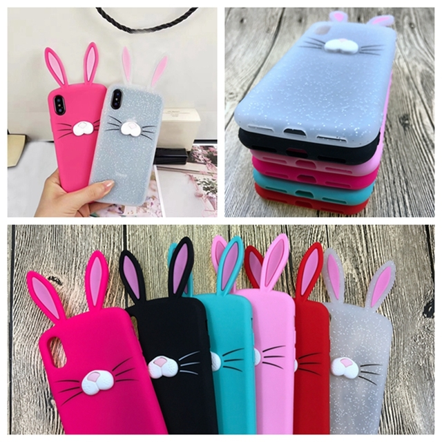 best website f8cda 5840f US $1.98 20% OFF|Phone Case for iphone 7 8 Plus iphone 8 5S 3D Cartoon  Rabbit Ears Bunny Coque Cover For iphone 6 s 6s Plus X 5 SE Silicone  Case-in ...