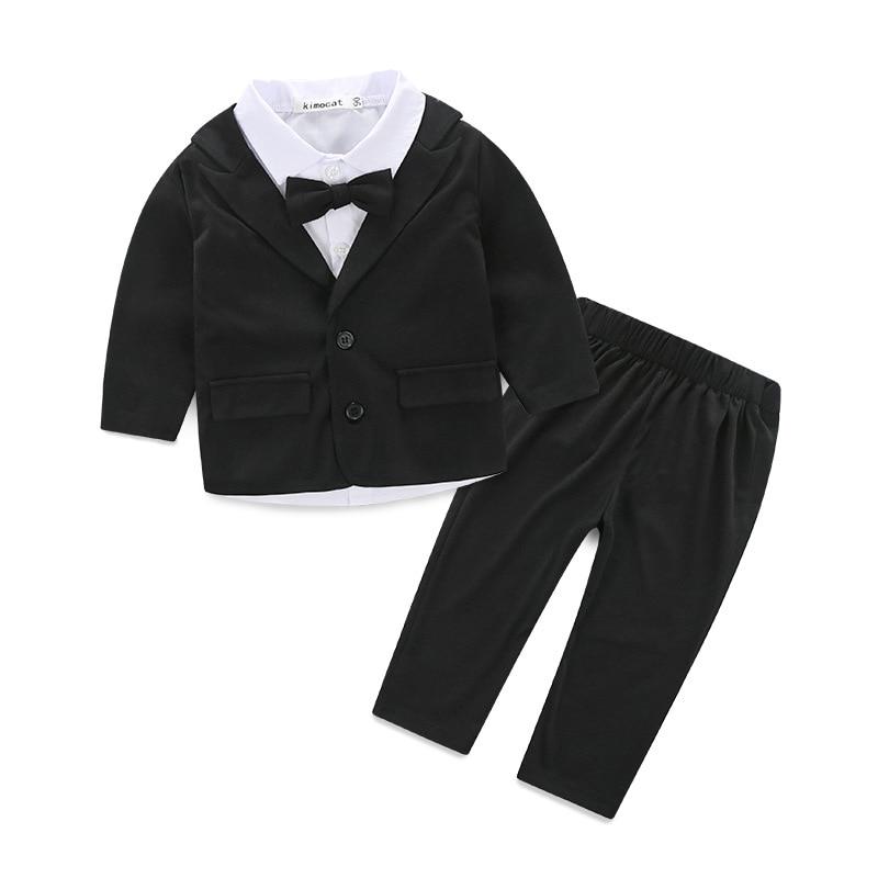 2019 Formal Baby Boy's Clothing Set Gentleman Autumn Baby Child Suit Set Party Suit Cotton Children Outerwear+tie Shirt+trousers