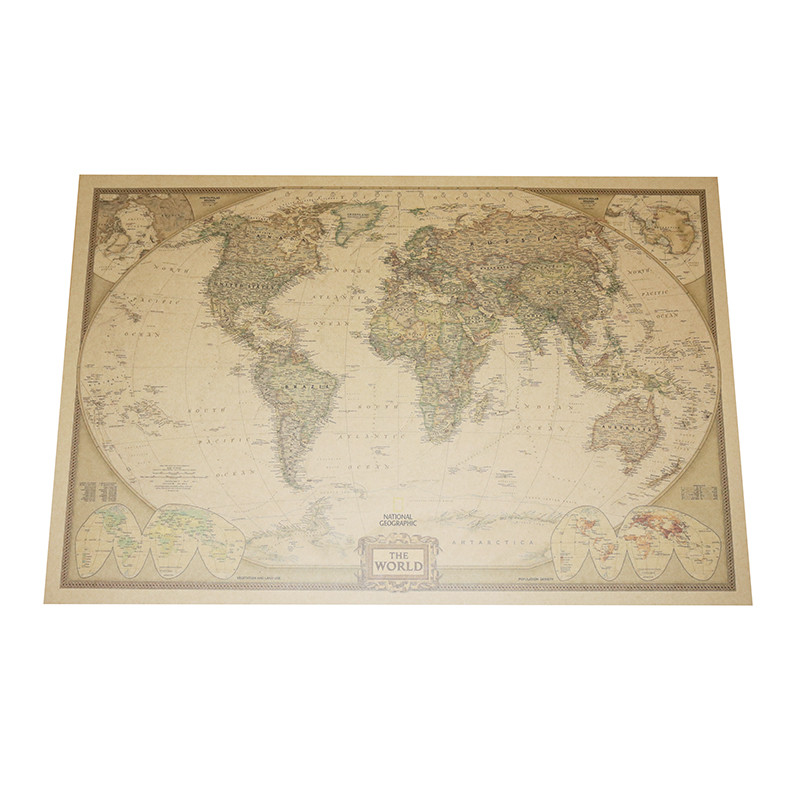 2 Pcs World Map Poster Kraft Paper 72.5*47cm Student Stationery World Geography Wallpapers Home Decor Decorative Paintings