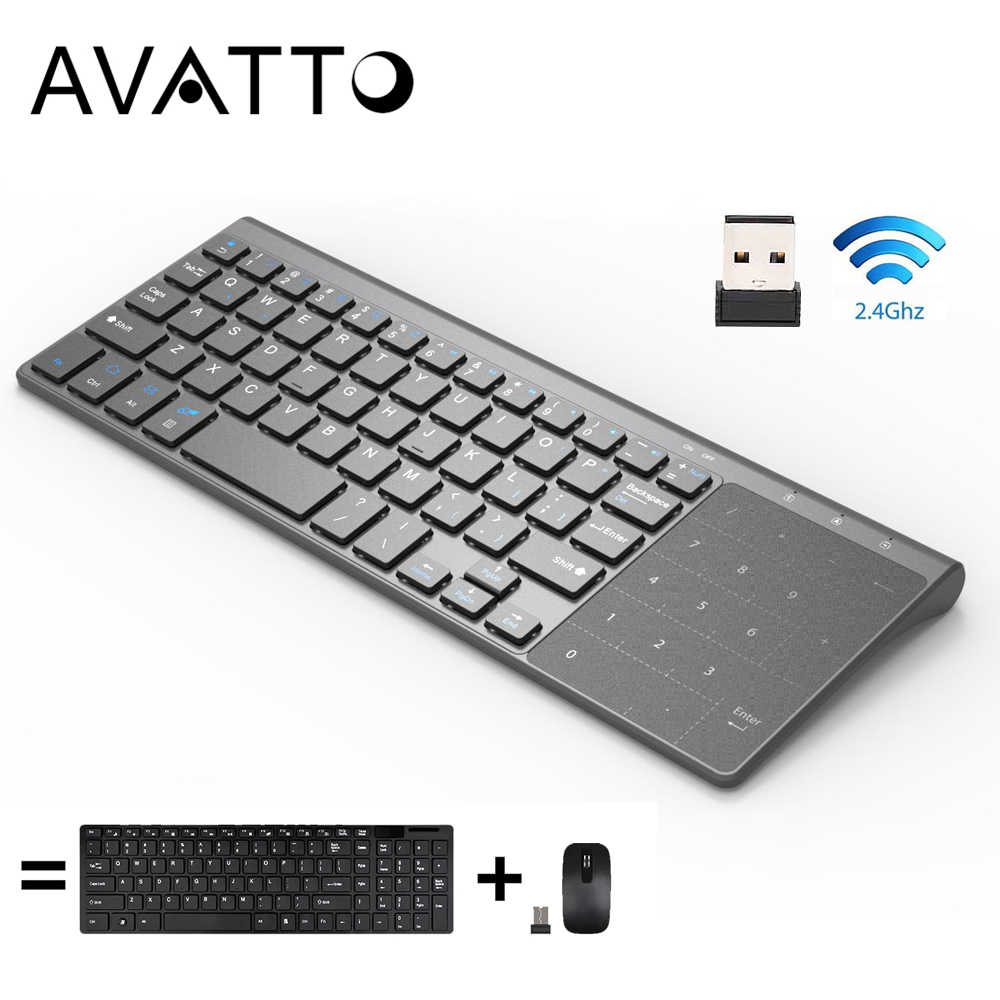 [Avatto] Tipis 2.4GHz USB Wireless Mini Keyboard dengan Nomor Touchpad Numeric Keypad untuk Android Windows Tablet desktop, Laptop, Pc