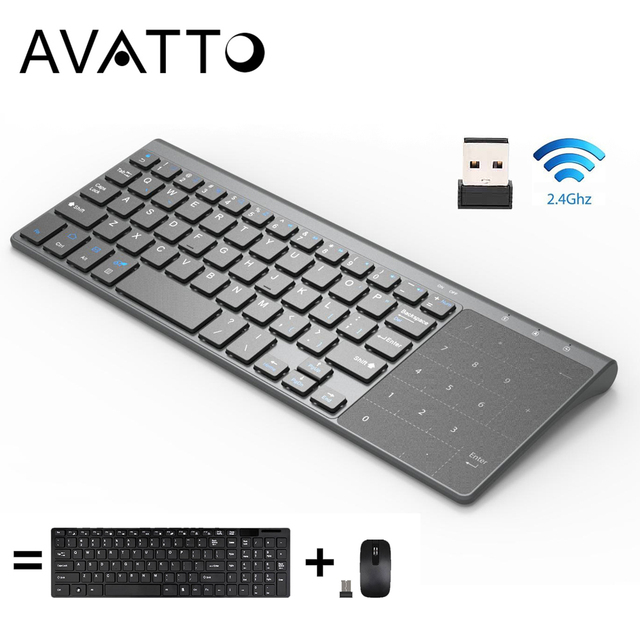 AVATTO Thin 2 4GHz USB Wireless Mini Keyboard with Number Touchpad Numeric Keypad for Android