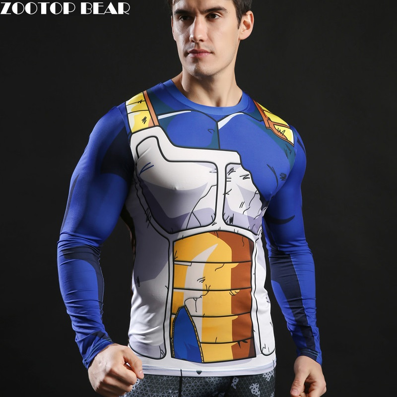 2017 Long Sleeve Anime Camiseta Harajuku Tshirt Vegeta T-shirts Dragon Ball Printed T shirt Compression Fitness Tops ZOOTOP BEAR