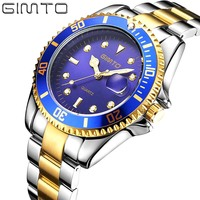 GIMTO WATCH Men Diamond Fashion Business Men Clock Gold Steel Sports Luxury Wrist Watch Gold Relogio