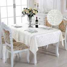 Double Hook Rectangle Small Polyester Jacquard Hotel Tablecloths Wedding Table Round Cloth Mark Place