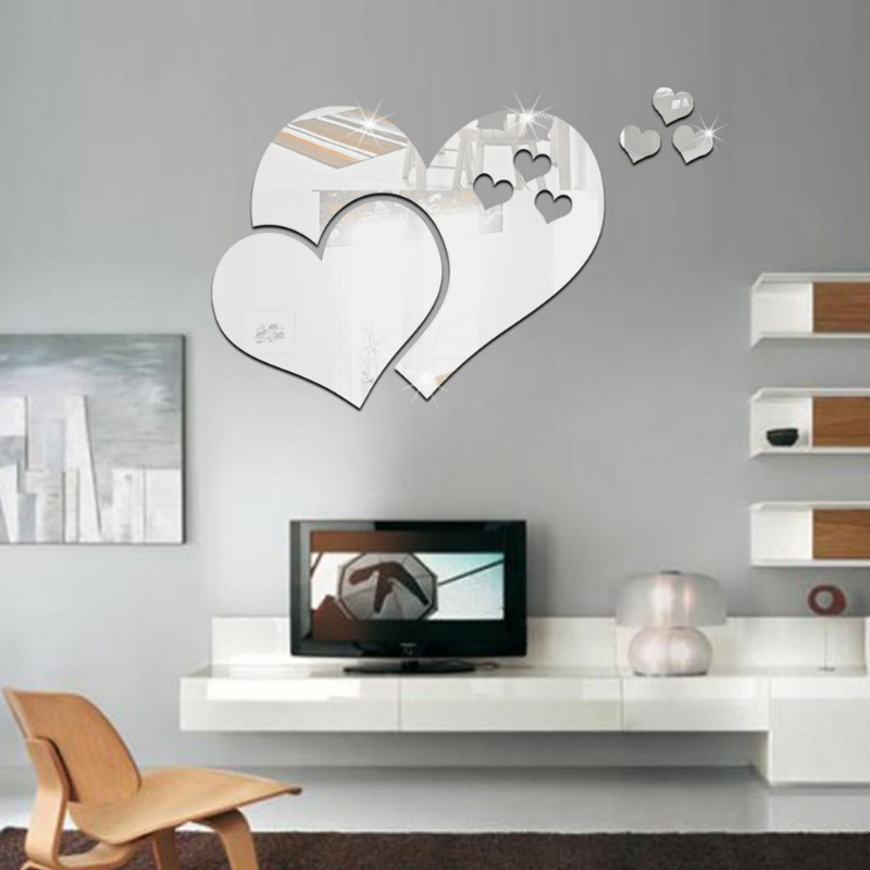 Heart With Heart Shaped Mirror Wall Sticker Stereo Diy Decoration Acrylic Living Room Wash Basin