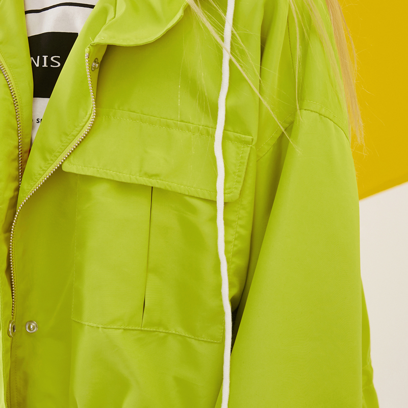 ELF SACK 2018 Spring Women Harajuku Solid Waisted Hooded Jackets Pockets Loose Casual Womens Short Coats Jackets Zipper