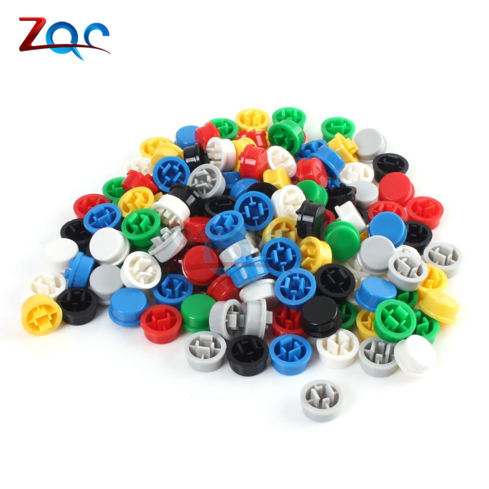 цена на 140Pcs Round Tactile Button Caps Kits 9.58*5.1mm for 12*12*7.3mm Micro Tact Switch For Arduino