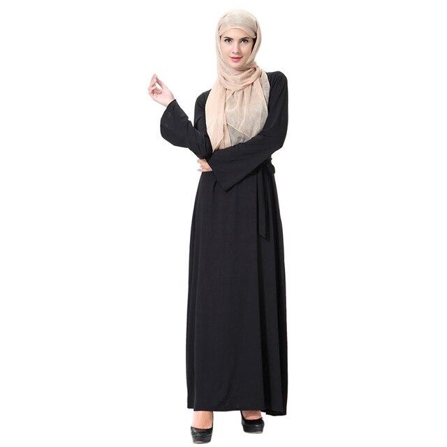 Fashion Arabian Dress With Sashes Muslim Dresses Robe Caftan
