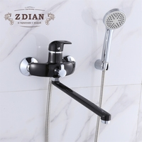 Wall Mounted 35cm Silver And Black Outlet Pipe Bath Shower Faucet Brass Body Surface Spray Painting