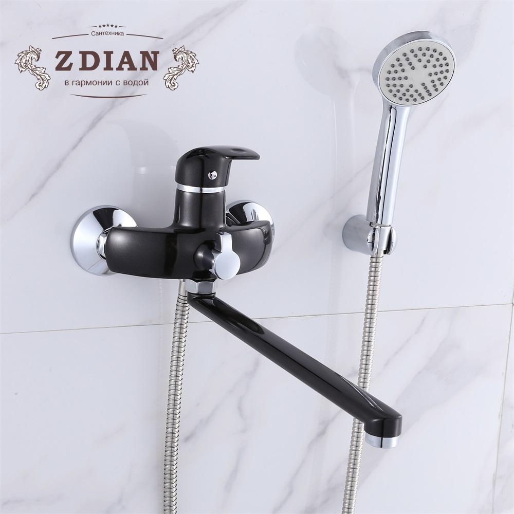 все цены на Wall Mounted 35cm Silver And Black Outlet pipe Bath shower faucet Brass body surface Spray painting shower head bathroom tap онлайн