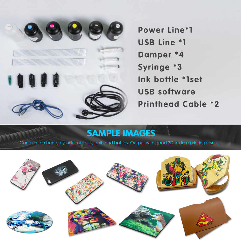 12 colors 6090 UV Flatbed Printer Acrylic UV Printer use for wood,pen uv led printer 60*90 printer