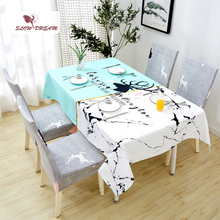 SlowDream Waterproof Oilproof Linen Table Cover Tea Cloth Decorative Kitchen Nordic Style Thick Rectangle