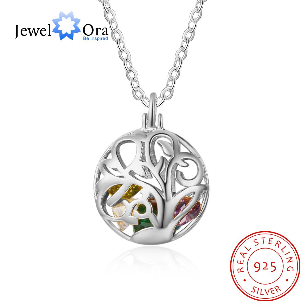 Floral Pattern Hollow With Birthstone Personalized Gifts 925 Sterling Silver Pendant Necklace Women Jewelry (JewelOra NE102636) gorgeous leaf floral hollow out necklace for women