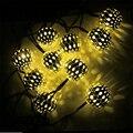 10 LED Марокканские Железный Шар Строка Солнечный свет Белый, теплый белый открытый свет украшения для праздника Рождественская елка