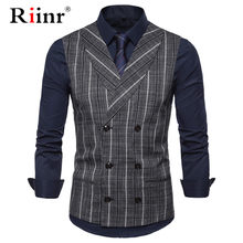 Heren Streep Plaid Formele Blazer Vesten Casual Double Breasted V-hals Mode S-2XL Mannelijke Engeland Stijl Casual Vesten EUR Maat(China)