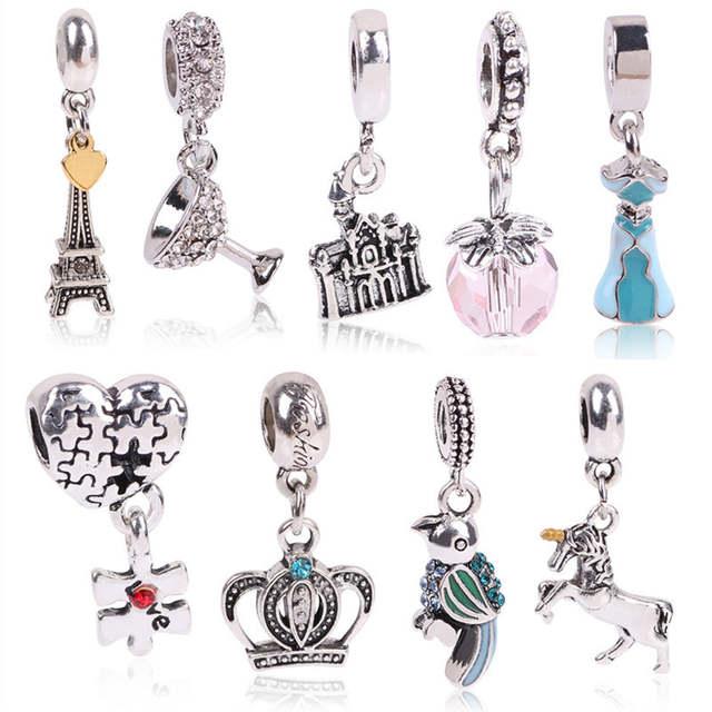 Argent Original Forme Balancent Bricolage Perles Pandora Amour Ajustement Bracelet TrèfleSouhaite En Quatre Cristal Charme Couleur D'étoile eEYDHI29Wb