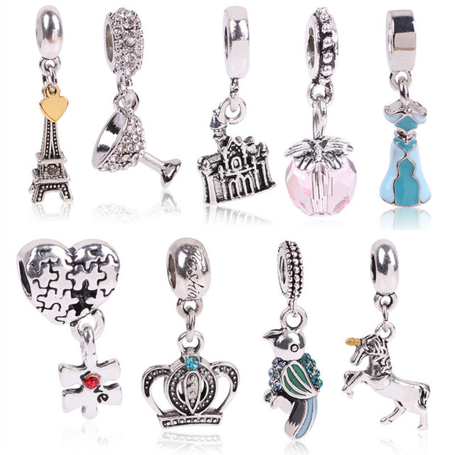 Diy Original Fit Pandora Bracelet Beads Color Silver Love Dangle Charm Crystal Four Clover