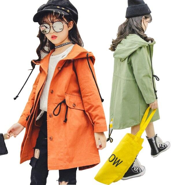 Пальто для девочек 2018 осень с длинным рукавом мода жакет с оборками для девочек ветровка детская куртка детская верхняя одежда Тренч 10 12 лет