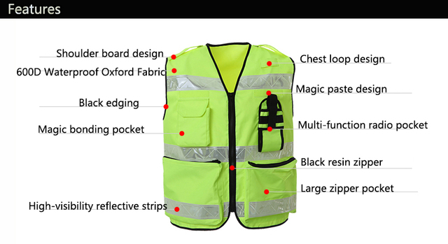 Reflective Vest Waterproof High Visibility Safety Clothing Multi pockets Fluorescent Yellow Clothes Waistcoat Outdoor Workwear 5