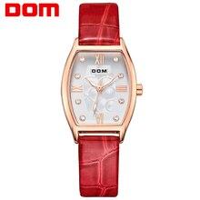 DOM mujeres estilo marca de lujo impermeable de los relojes de cuarzo reloj de hombre reloj de oro de cuero marca de lujo