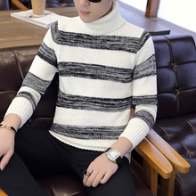 2019 High collar Pullover Men slim fit Clothing Autumn Winter New Arrival Cashmere Wool Sweater Men Casual Striped knit shirts