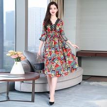 Dresses Woman Party Night Plus Size Lace Print Floral Dress for Women 2019 Summer Midi Loose Elegant Vintage Ruffles Clothing plus contrast floral lace night dress