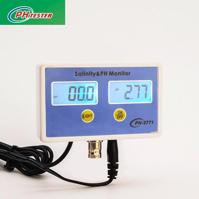 PH-2771 2-in-1 Digital Salinity Meter PH Tester Meter Monitor for Aquarium 0-199.9PPT 0.00-14.00PHPH-2771 2-in-1 Digital Salinity Meter PH Tester Meter Monitor for Aquarium 0-199.9PPT 0.00-14.00PH